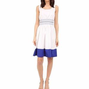 Kate Spade White & Blue Smocked Poplin Dress